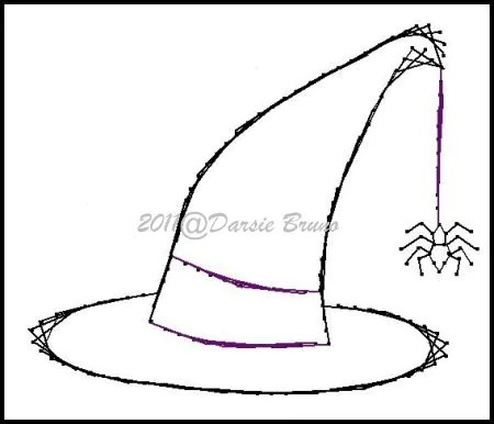 Halloween Witch Hat Embroidery Pattern for Greeting Cards
