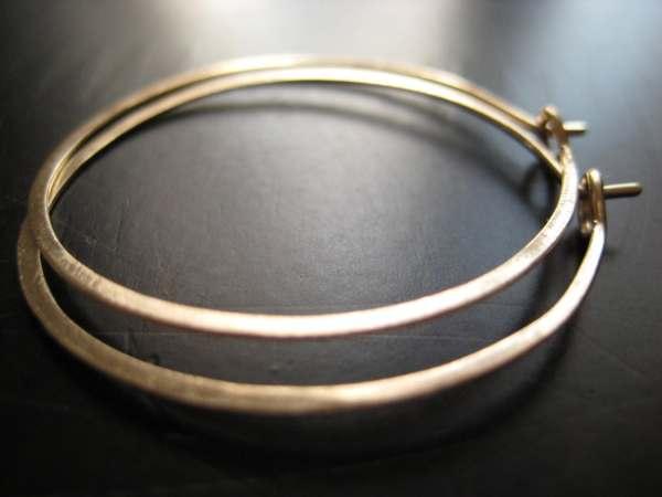 Modern Gold Hoops. Earrings 14 Karat Filled Hammered