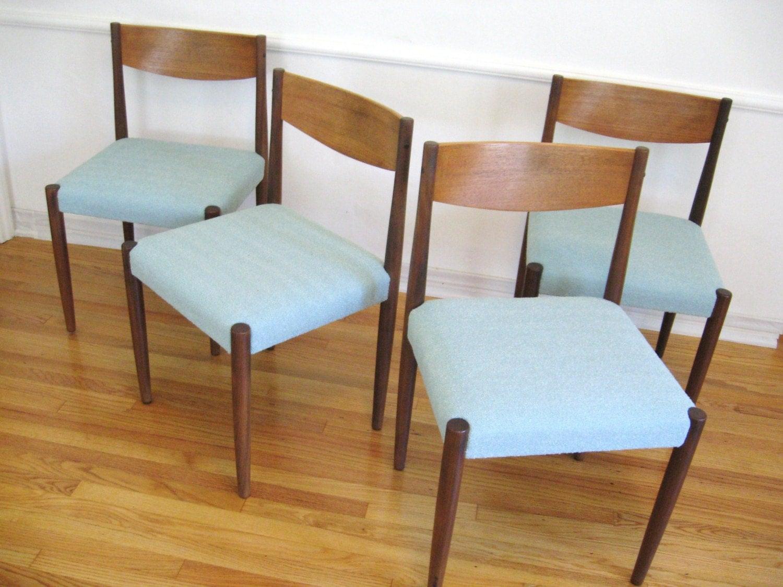 60s DANISH MODERN Teak Wood Vintage DINING CHAIRS by