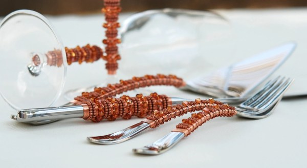 Swarovski Crystal Copper Wedding Cake Server Knife