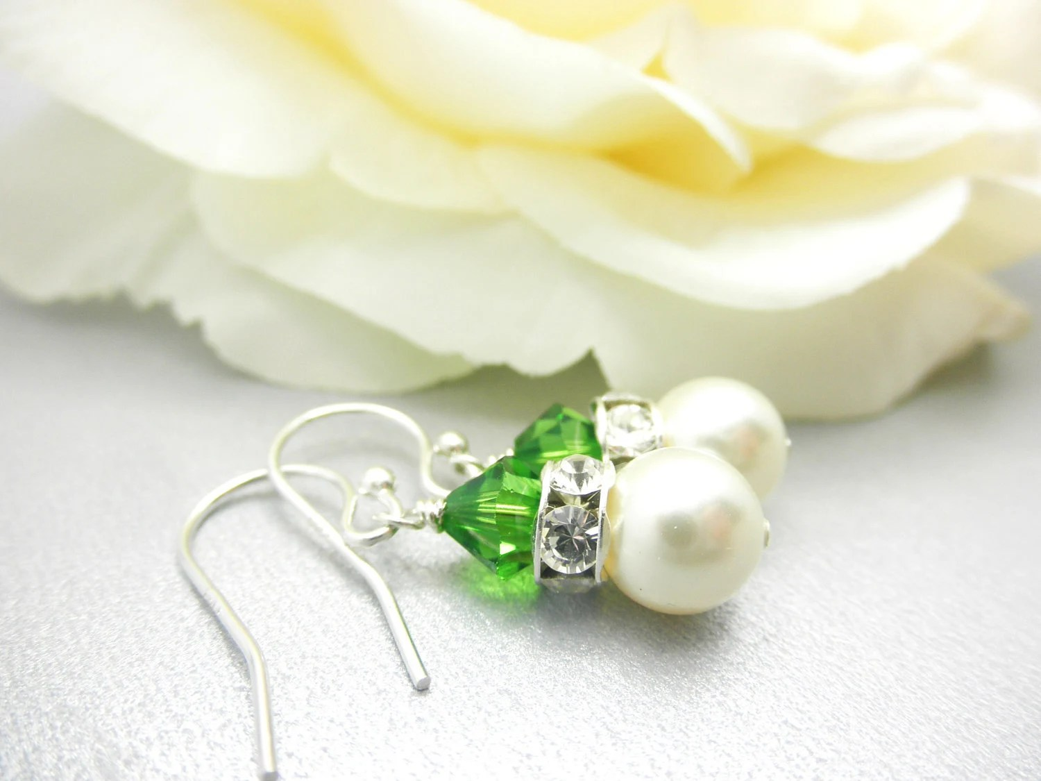 Bridesmaid Earring- Simple Pearl and Crystal Earrings- Wedding- Bridal -Bridesmaid- Sterling Silver - AliChristineJewelry