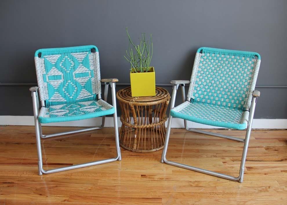 Amazing Pair of Matching Macrame Chairs
