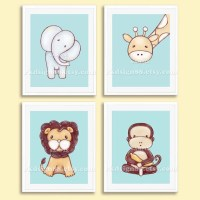 Nursery art print baby boy nursery decor kids wall art zoo