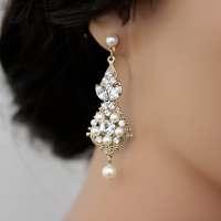 Gold Wedding Earrings Chandelier Earrings Vintage Bridal