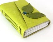 Leather Journal or Sketchbook - Lime Green Leaves - ConduitPress