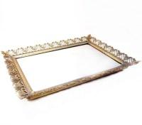 Vintage Mirror Tray Rectangle Brass Metal Vanity Mirror Tray
