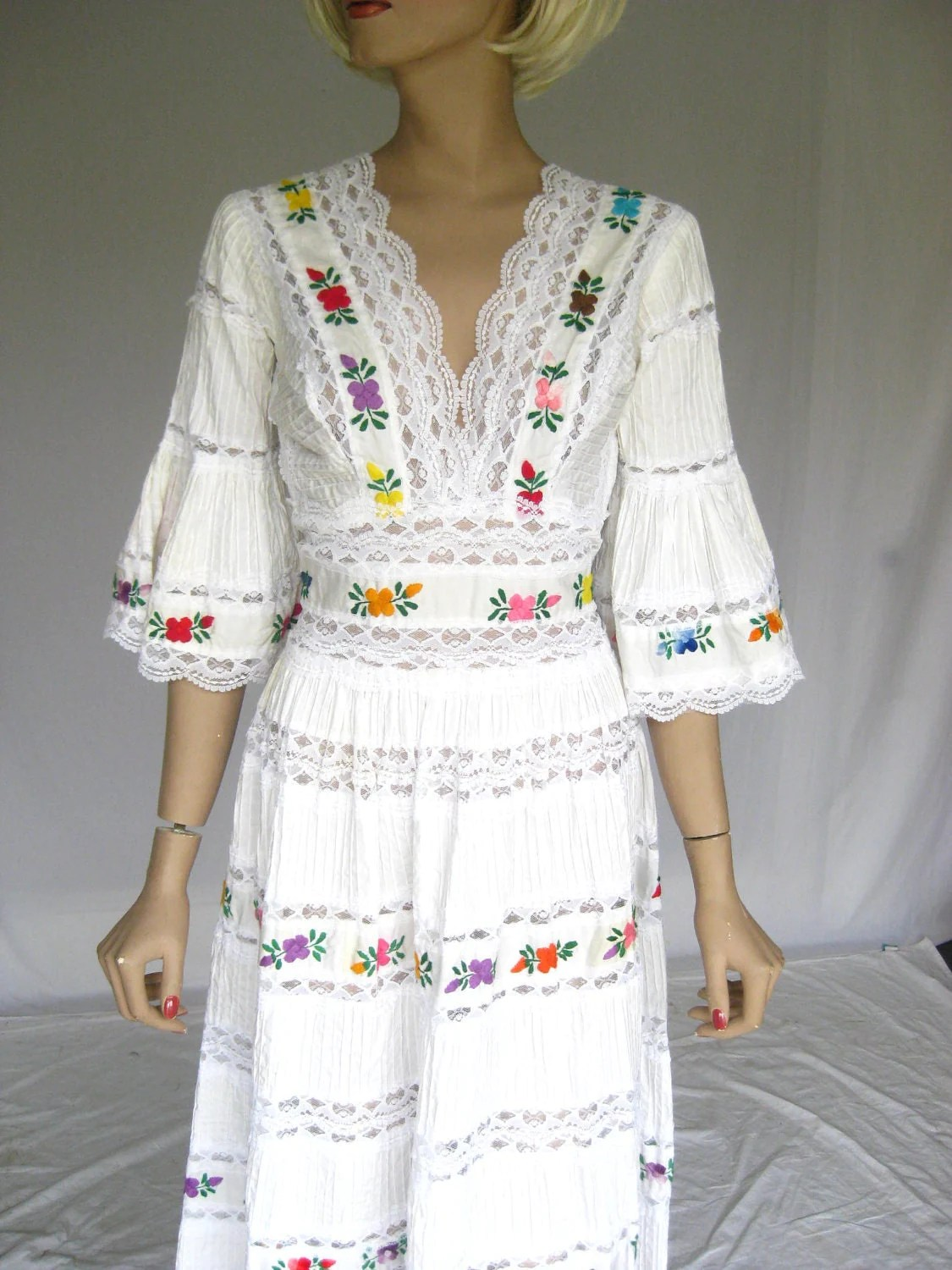 Vintage 1960s Mexican Embroidered Lace Wedding Dress