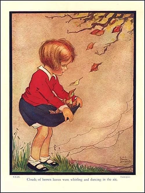 Vintage 1930s Storybook Illustration Print Little Girl