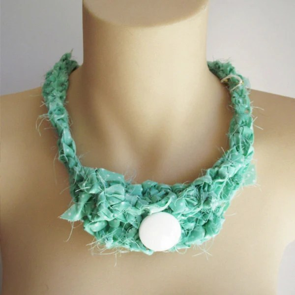 Hand Knitted Choker Necklace with button -  Green polka dots