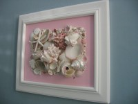 Original Framed Seashell Art Collage on Canvas in Pink White