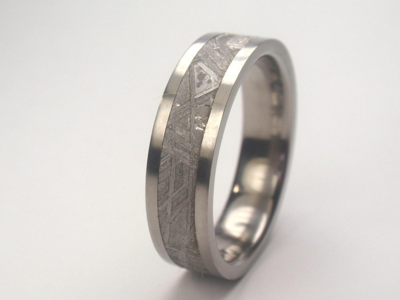 Mens Single Band Meteorite Wedding Band Titanium by jewelrybyjohan