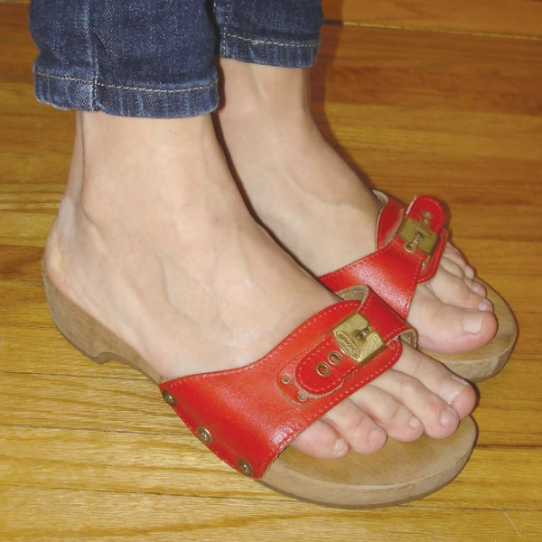 Vintage Cherry Red Leather Dr. Scholl' Excercise Sandals