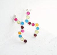 Jewel Tone Earrings Silver Circle Earrings Cinco De Mayo