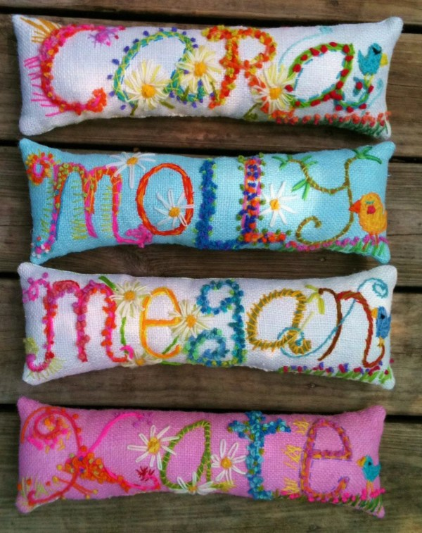 Embroidered Name Pillows