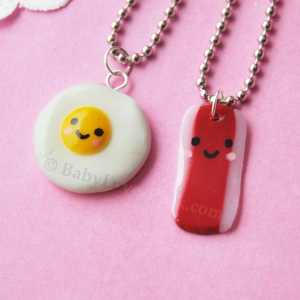 Kawaii Happy Bacon And Egg Bff Necklace Set Of 2 D1a3