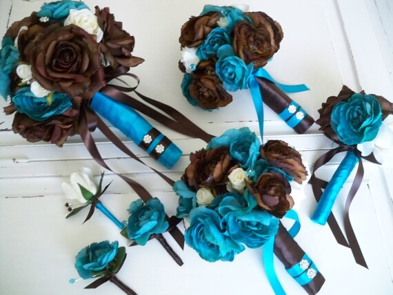 Items Similar To Turquoise And Chocolate Brown Bridal