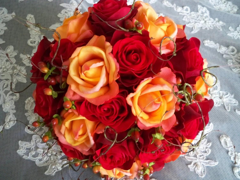 Silk Flower Red Orange Bridal Autumn Fall Wedding By