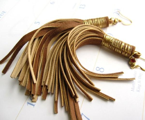 Brown Leather Tassel Earrings