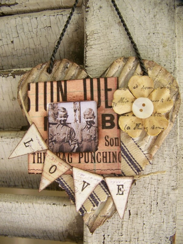 Vintage Altered Art Collage Mixed Media Cottage Style