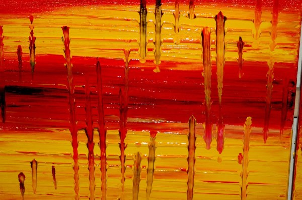 Large Red Abstract Painting Modern Contemporary Art Textured