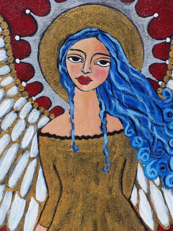 Original Stunning Blue Haired Spanish Folk Art