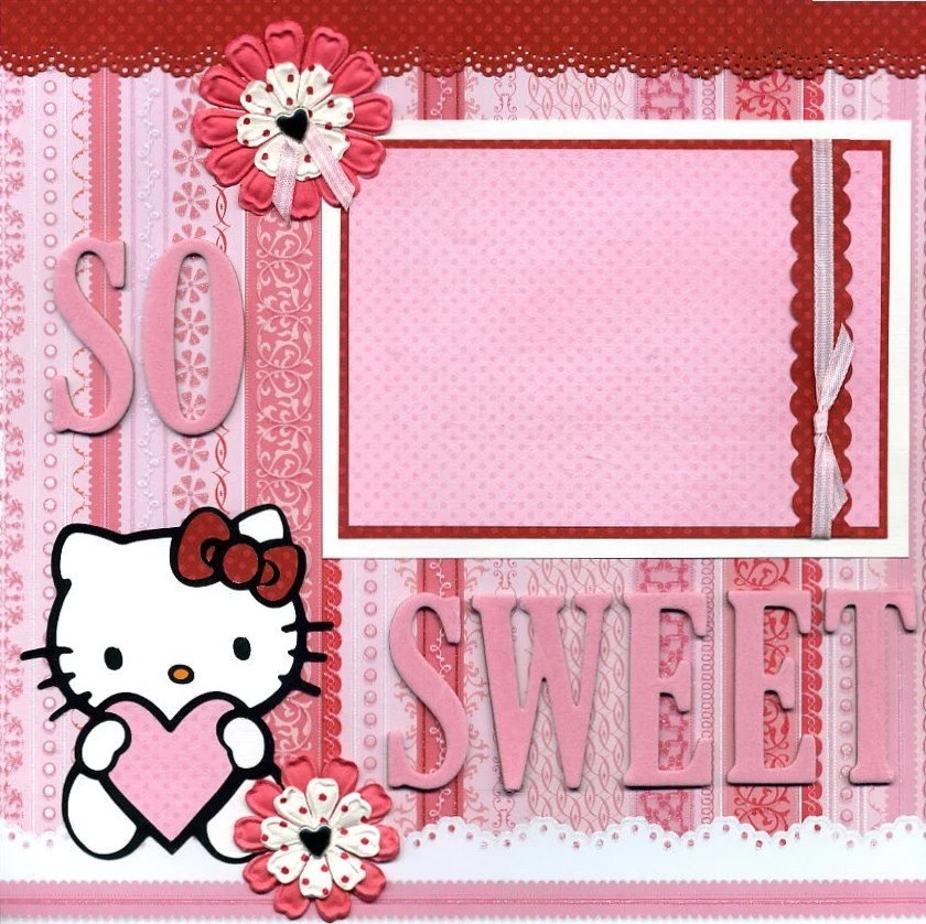 Hello Kitty GIRLY scrapbook layout paper piecing by tville23682