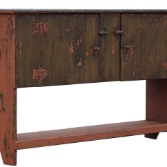 Country Primitive Sofa Tables Cover Brown Color Painted Huntboard Sideboard Buffet Table