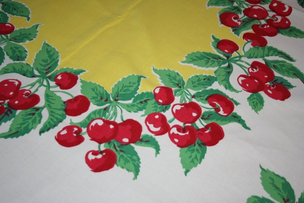 Vintage 1940s Red Cherry Cherries Marlene Tablecloth Huge