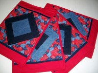 Bandanas and Blue Jeans Placemats set of 4 by QuiltingFrenzy