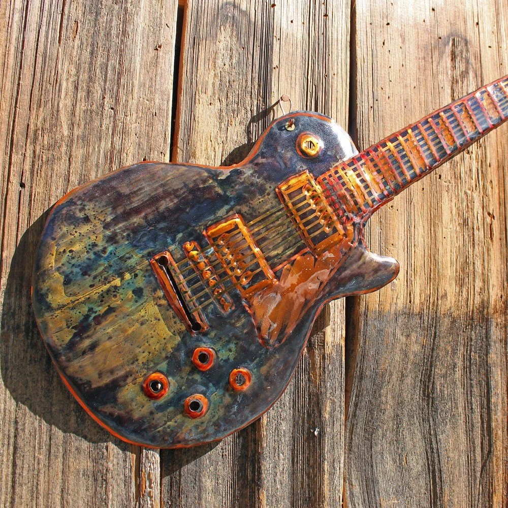 Les Paul Electric Guitar Copper Wall Sculpture By Mark