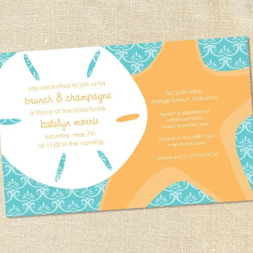 Sweet Wishes Sand Dollar And Starfish Beach Party Invitations