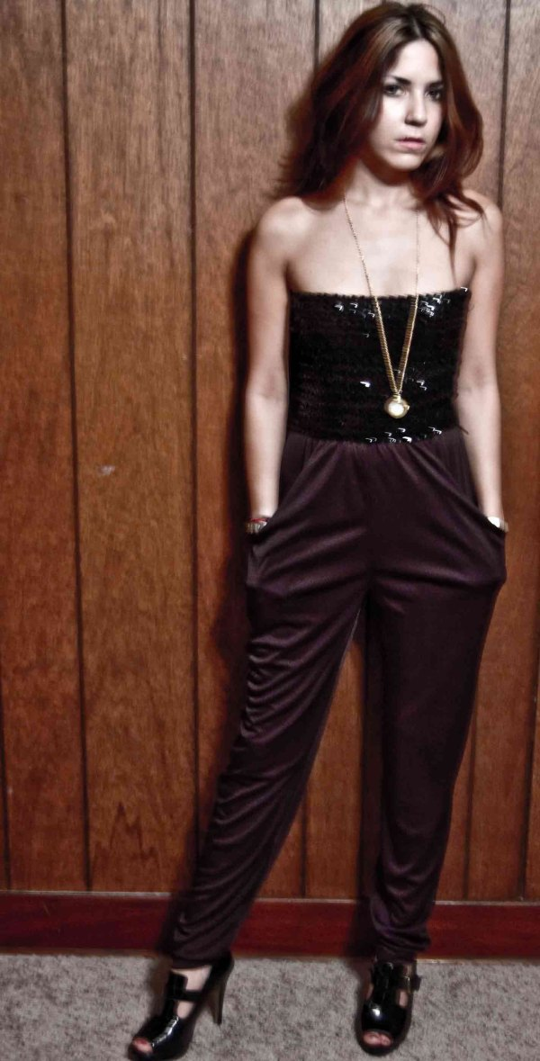 Black Sequin Jumpsuit