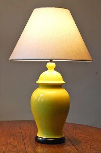 Vintage Modern Yellow Ginger Jar Table Lamp