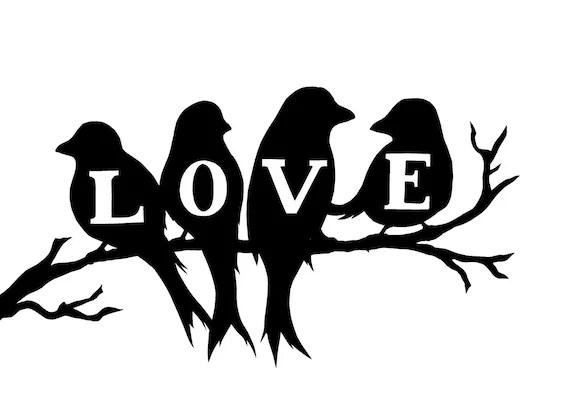 Download Love birds silhouette