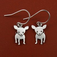 Chihuahua earrings by StickManJewelry on Etsy