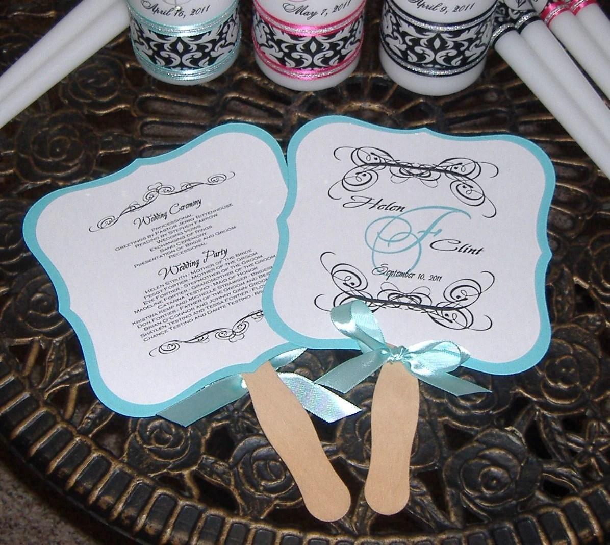 RESERVED For JENNA Wedding Fan Programs 100 Monogrammed Fans