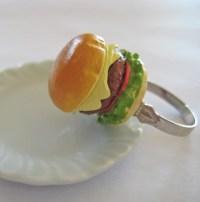 Cheeseburger Food Ring Mini Food Jewelry by Artwonders on Etsy
