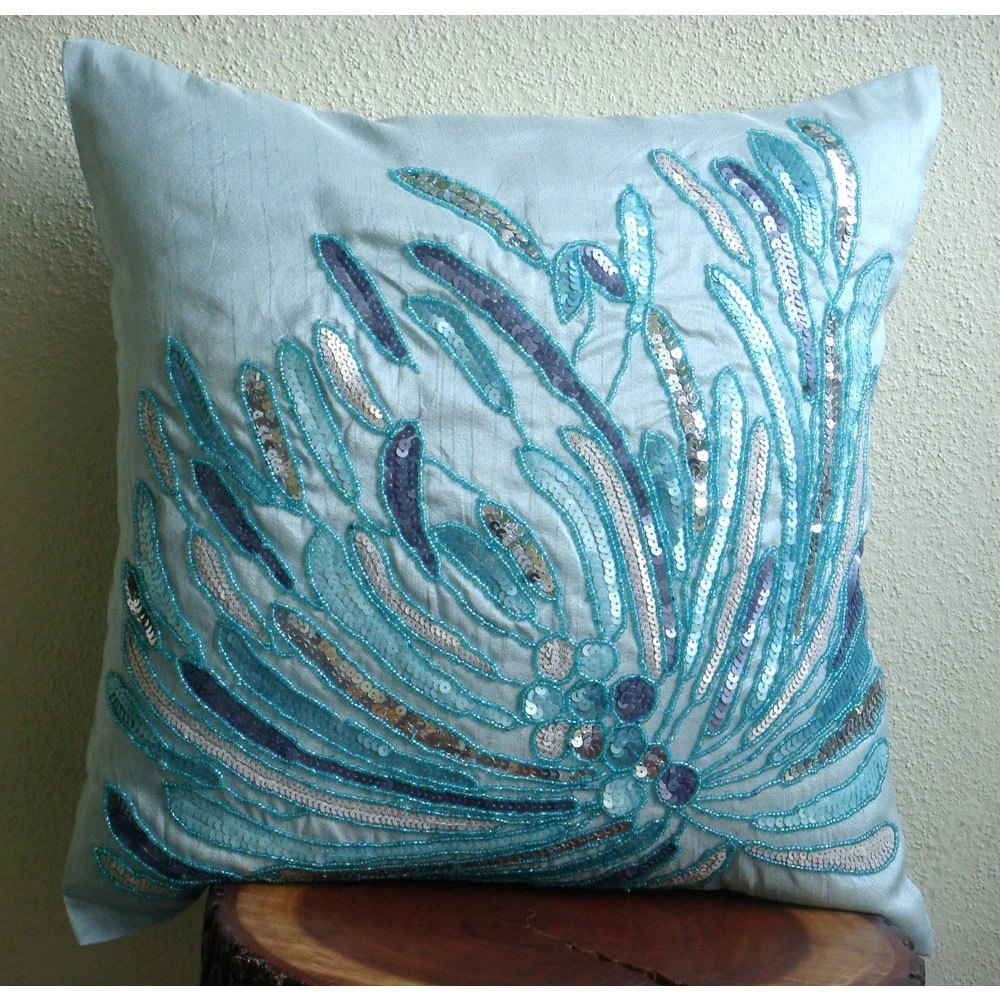 thehomecentric  Blue Decorative Pillow Cover 16x16