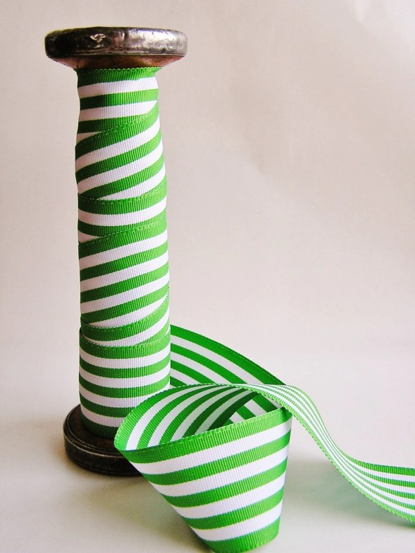Green And White Striped Grosgrain Ribbon Trim