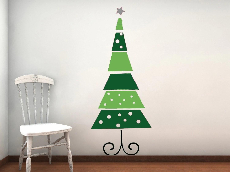 Funky Retro Christmas Tree Vinyl Wall Decal