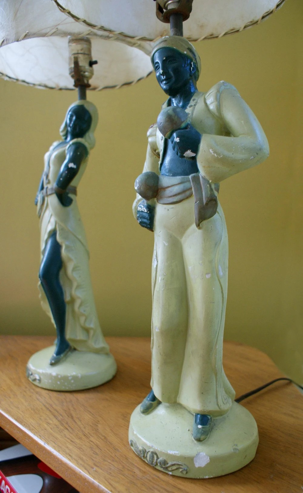 Vintage 1940s 1950s Chalkware Figural Dancer Pair of Lamps