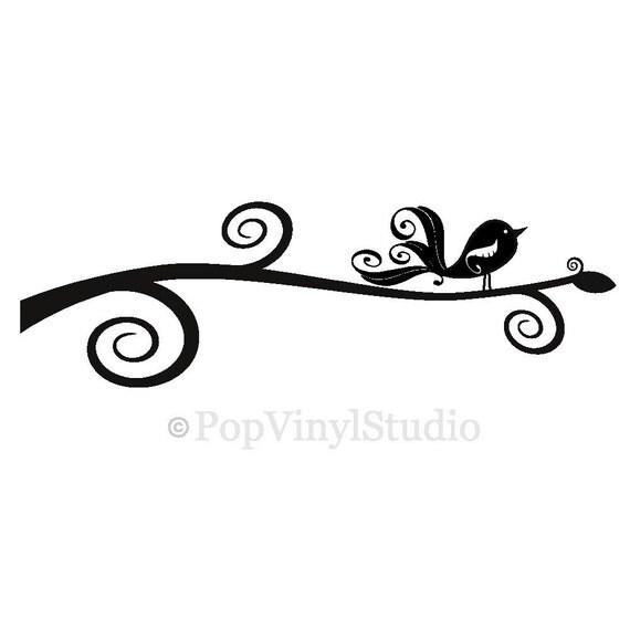 SALE Swirly Birdie Bird Branch Vinyl Wall Design Whimsical