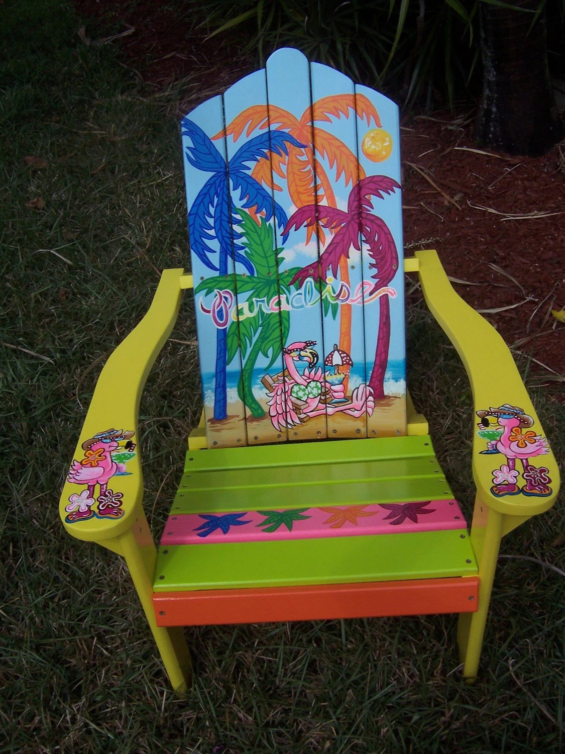 Tropical Adirondack Chair Handcrafted Hand Painted Flamingo