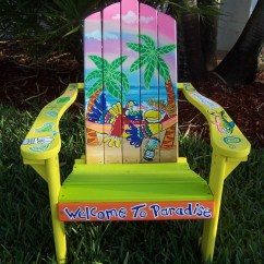 Painted Adirondack Chairs Mini Saucer Chair Tropical Handcrafted Hand Parrot