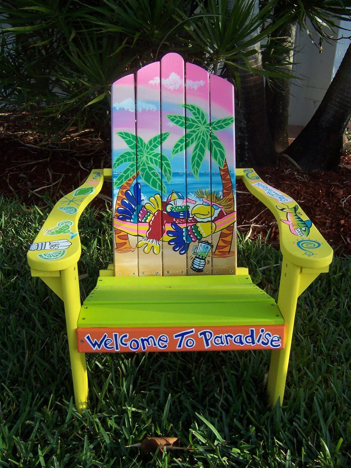 paint for adirondack chairs target chair mat tropical handcrafted hand painted parrot