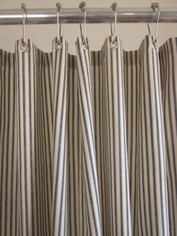 custom black ticking stripe shower curtain extra long with