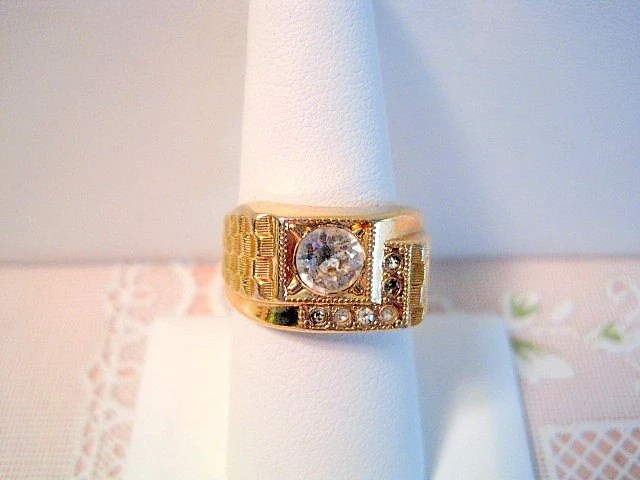 Mens Vintage 14kt Ge Espo Ring With Faux Diamonds