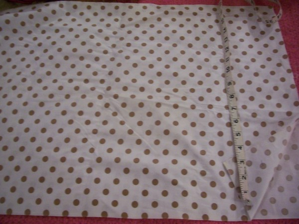 Vintage White Polished Cotton Fabric Withbrown Polka Dots