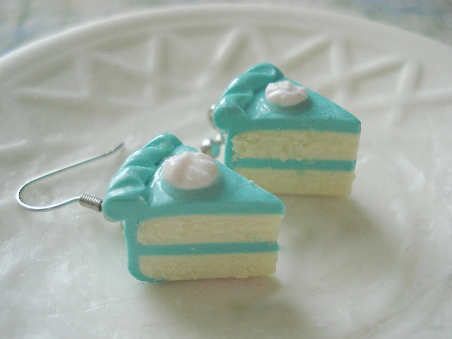 Teal Dream Cake Slice Earrings Miniature Food Jewelry - fakerybakery2