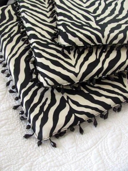 Set of FOUR 4 ZEBRA print dining chair cushionspads with
